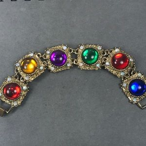 Vintage gold multi color gem link bracelet